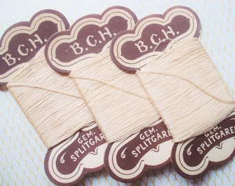Antique Thread Cards - German Ivory Thread Cards - 3 Ecru Thread Cards - Vintage Cotton Thread Cards - Gem Splitgaren