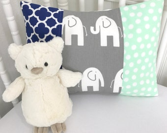 Elephant Pillow Cover, Baby Boy, Nursery Decor, Cushion Cover, Throw Pillows, Decorative Pillows, 12 x 16, Elephants, Mint, Gray, Navy