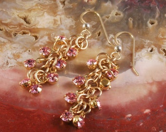 Chainmaille Earrings Gold Filled Swarvoski Drops