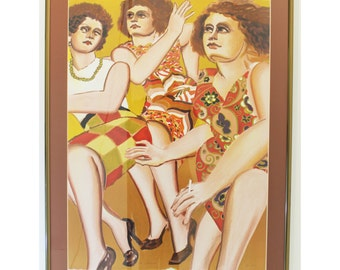 Mid Century Modern Lester Johnson Artist Proof 21/30 Signed Three Women