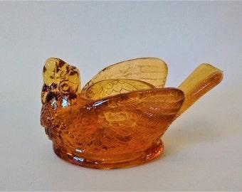 Bird and Berry Salt Dip - Amber Glass Bird - Figural Salt Cellar - Open Salt Dish - Degenhart Glass - Bird & Berry Salt, Excellent Condition
