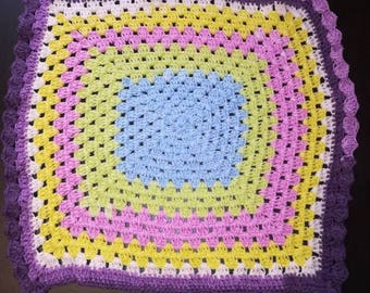 Multicolored baby blanket wool