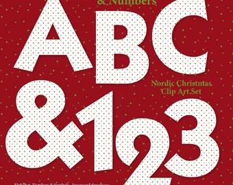 Alphabet Clipart 3: Nordic Christmas Alphas Numbers Symbols Digital Alphabet Clip Art A-Z Letters Graphics Printable Holiday clip art Images