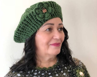 Green Women's Crochet Beret