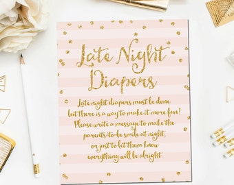 Printable Late Night Diapers Game Sign Pink Gold, Printable Baby Shower Game, Baby Shower Sign, Pink Gold Baby Shower Printable Instant BB7