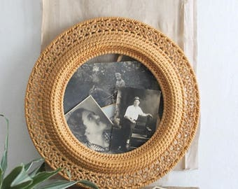 Vintage Round Woven Wicker Rattan Display Frame