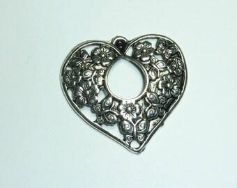 """big heart"" charm 33x32mm openwork silver metal"