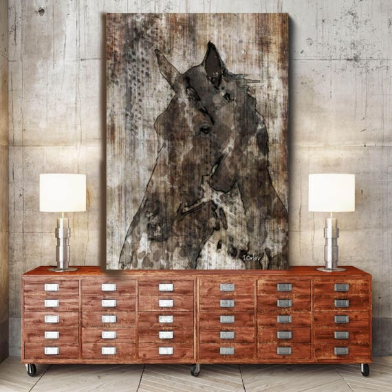 "Black Horse. Extra Large Horse, Unique Horse Wall Decor, Brown Rustic Horse, Large Contemporary Canvas Art Print up to 72"" by Irena Orlov"