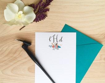 Monogram Floral Calligraphy Stationery / Custom Initial / Custom Stationery / FLAT NOTECARD