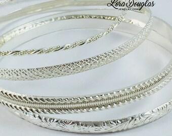 Sterling Silver Bangle Bracelets, Sterling Silver Bracelet, Stacking Bracelets, Sterling Bangle, Set of Bracelets, Size Small/Medium