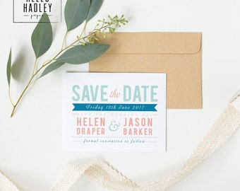 Printable wedding save the date card - Draper collection (colour)