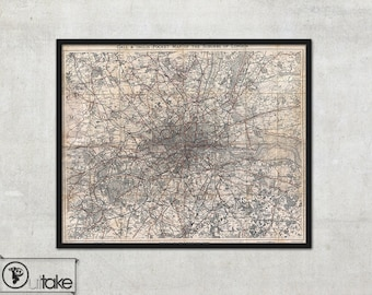 Vintage Wall map of Suburbs of London, - interior map design, home decor - 113