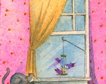 Original ACEO Painting -- Bird Stalker