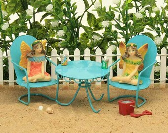 Beach Bistro Furniture, Fairy Garden Summer Furniture, Garden Furniture, Patio Furniture for Mini Garden, Fairy Garden Accessories