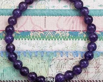 Handmade Deep Amethyst Stretchy Bracelet