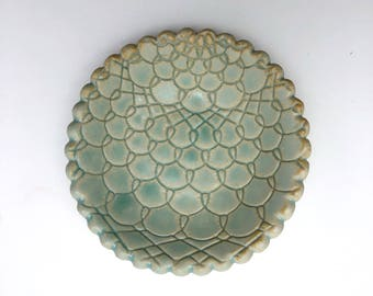 Lace Ringholder Dish - Turquoise Glaze in Mermaid and Flower Patterns
