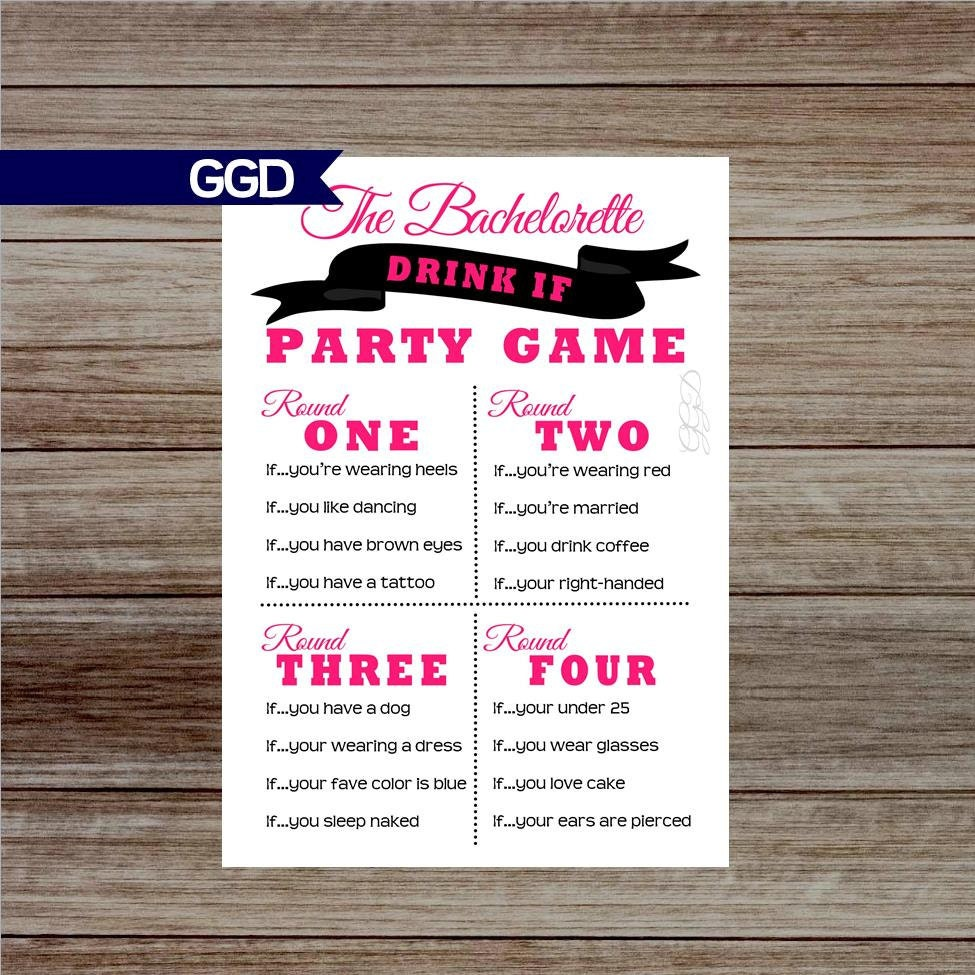 INSTANT DOWNLOAD Drink If Bachelorette Party Game drink if