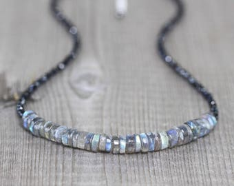 Labradorite & Black Spinel Beaded Necklace. Sterling Silver, Rose or Gold Filled. Flashy Blue Gemstone Choker. Boho Hippie Layering Necklace