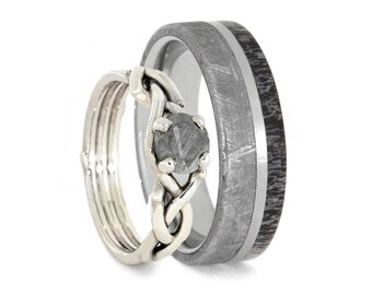 Nature Inspired Meteorite Wedding Ring Set, Antler Wedding Band And Sterling Silver Engagement Ring, Natural Jewelry