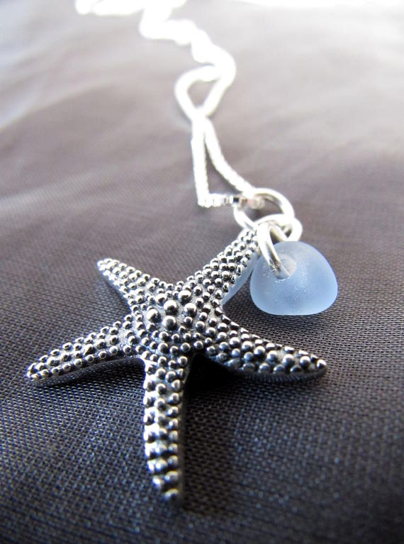Starry Starry Night sea glass necklace in cornflower blue
