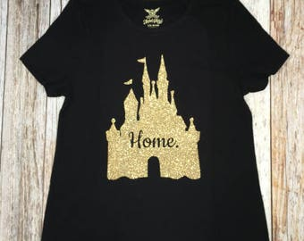 HOME Princess Castle Tank Tee T-Shirt Onesie Gold Rose Pink Silver