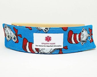 Kids Medical Alert Bracelet Safety ID Fabric Wristband - Cat In The Hat