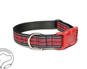 """Pride of Wales Tartan Dog Collar - 1"""" (25mm) Wide - Black and Red Plaid - Matingale or Side Release Buckle - Choice of size & style"""