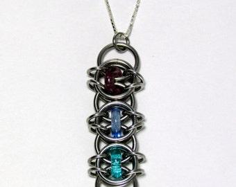 Glass Pendant, Chain Maille Pendant, Multicolor Pendant, Glass Jewelry, Ring Jewelry
