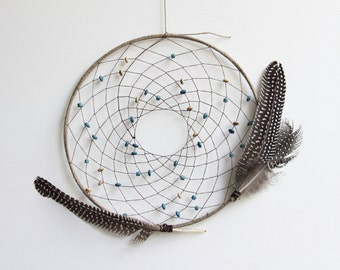 Medium dream catcher with wooden blue and cream beads and natural feathers, boho dream catcher, good vibes