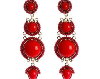 Ole Ole Flamenco Long Red Earring