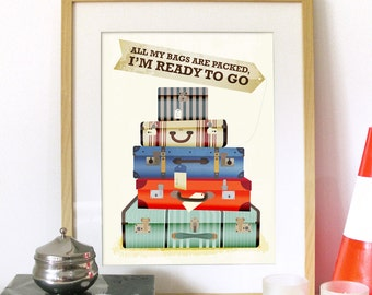 Mid century Retro Vintage Print Typography Poster Art ...I'm ready TO GO inspired from song poster print vintage retro look music poster