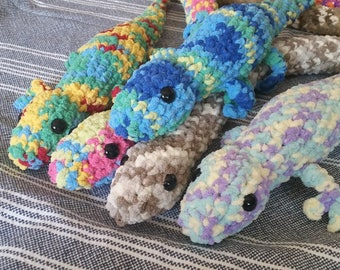 Giant Plush Gecko Amigurumi Crochet Toy - Multicolor (Choose color)