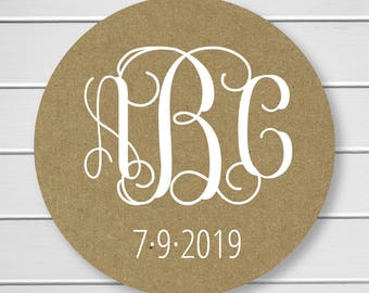 White Ink on Kraft Monogram Return Address Stickers, Wedding Invitation Return Address Labels, Monogram Return Address Labels (#155-KR-WT)