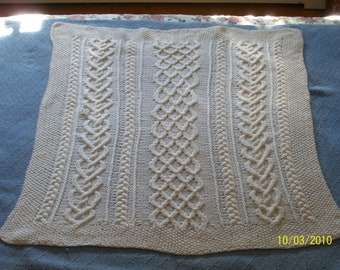 Aran Cable/Smck Stitch Baby Blanket