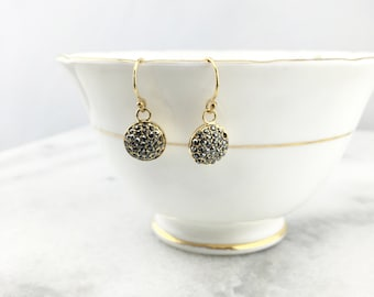 Marcasite Faceted Pave in a 14K Gold Filled 1/2 Round Dome Dangle Drop Simple Delicate Earrings-Minimalist Earrings