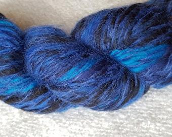 Ocean Depths - Hand Spun Mohair, Merino Wool Yarn - 5-8 ply sport-DK