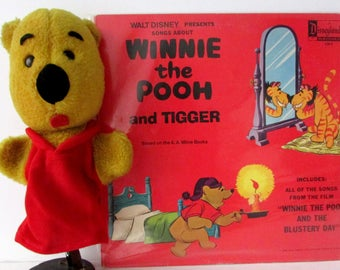 Vintage 1964 Winnie the Pooh Hand Puppet AND 1968 Walt Disney Presents Songs about Winnie the Pooh and Tigger