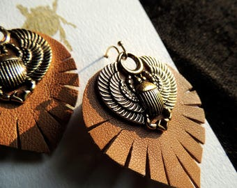 Flying scarab earrings