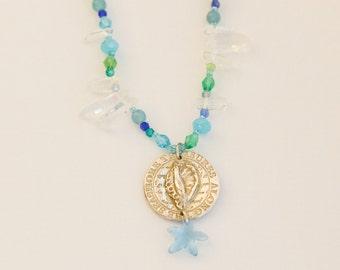 SILVER SHELL & STARFISH fine silver, metal clay, seashell, swarovski crystal, semi precious stones
