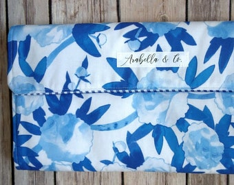 Diaper Clutch- The Classic, Diaper Clutch with Changing Pad, Diaper Holder, Diaper Clutch Pockets, Blue and White, Floral,