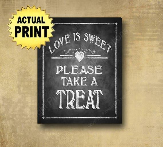 Chalkboard Dessert Bar Sign | PRINTED Love is Sweet Sign, Take a Treat Sweets bar sign, Chalkboard wedding sign, Bakery Sign, Barn Wedding
