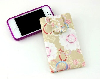 Samsung Phone Cover, Galaxy S4 Galaxy S6 Galaxy Note Cover, Any Smartphone, Phablet Cover, Fabric Padded Cover,Cherry Blossoms Beige