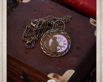 ALICE in Wonderland rabbit and watch COP009 steampunk necklace