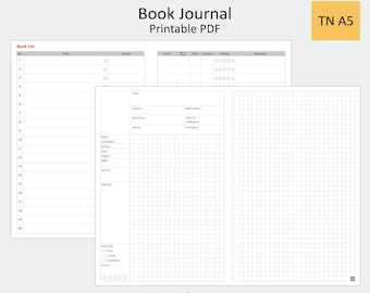 Book Journal ︳Traveler Notebook A5 Size ︳Printable Planner Inserts PDF  ︳Book Review ︳Instant Download