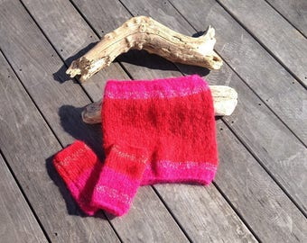 snood and mittens red and fuchsia pink mohair