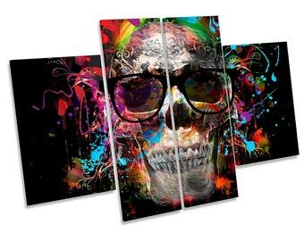 Skull Urban Graffiti Picture CANVAS WALL ART Four Panel