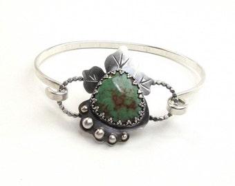 Boho Turquoise Bracelet - Turquoise Silver Bangle - Bohemian Turquoise Bracelet - Locking Silver Bracelet - Gemstone Bracelets For Her- B002