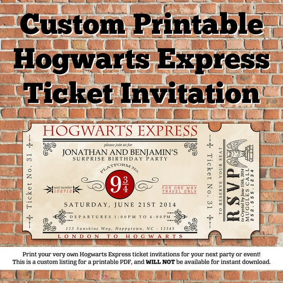 Insane image throughout hogwarts express ticket printable
