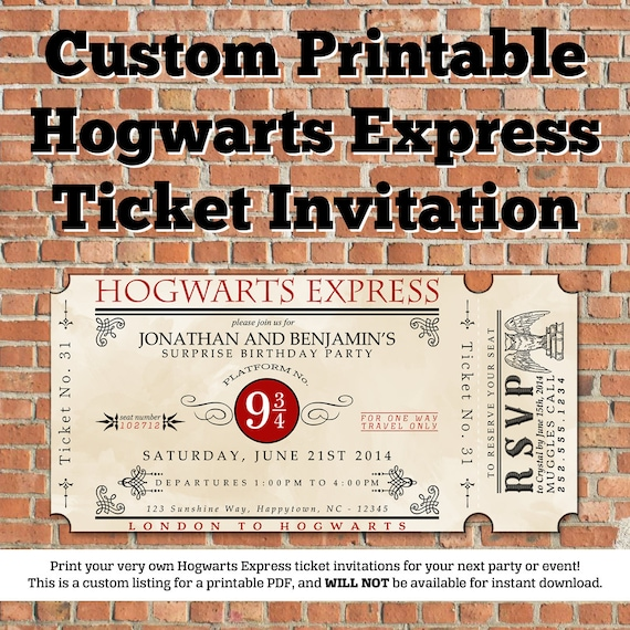Trust image in hogwarts express ticket printable