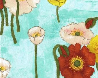 Laura Gunn Fabric Vignette Gathered Poppies in Aqua 1/2 Yard